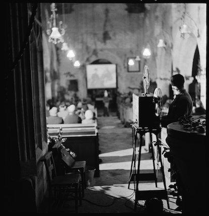 Film show in a church, 1941