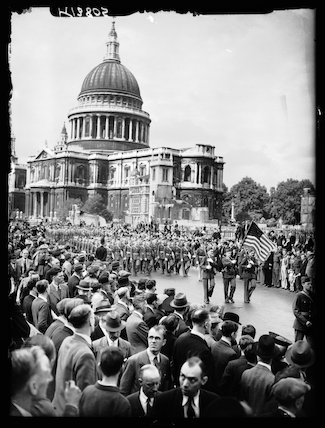 American troops marching through London, 1942