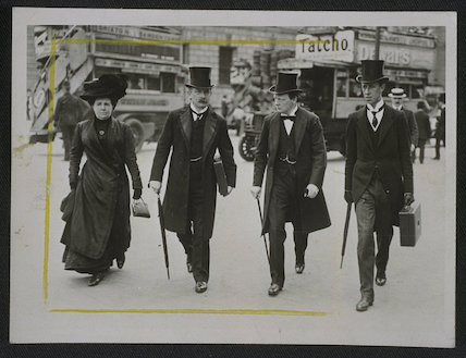 Budget day: Churchill, Lloyd Georges and Clarke walking in city