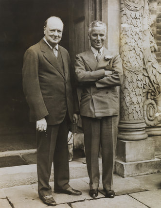 Charlie Chaplin and Winston Churchill at Chartwell Manor, Kent