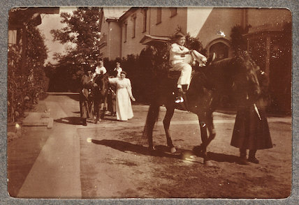 Russian Royal family children horse-riding, c.1915