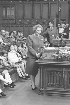 Margaret Thatcher on House of Commons set at Granada Television  - January 31, 1990