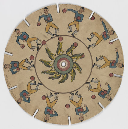 Phenakistoscope disc: dancing man and frog