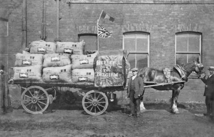 A Horse Drawn Wagon on its Way to Belgium with War Relief for the Troops - c1916