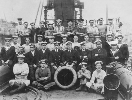 Officers and  Ships Company H.M.T.B 98, on the 344th Day of The War - c1915