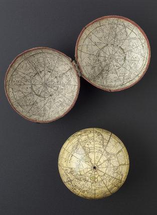 Pocket globe by Dudley Adams, fishskin case, celestial and terrestial.