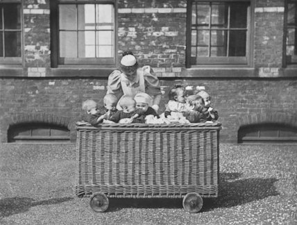 A Group Of Children in a Wicker Laundry Basket at Crumpsall Workhouse, Manchester - c1890