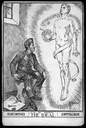 A First World War conscientious objector postcard  - 1917