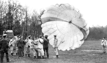 Royal Engineers Test a Parachute at Ringway - 1916