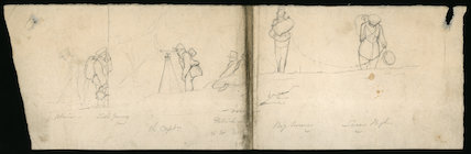 Pencil sketches showing members of HMS Chanticleer voyage.