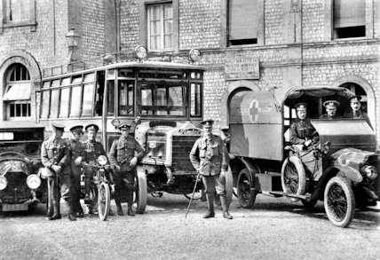 British Military Transport Vehicles in France - 1915