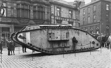 A First World War Tank in Peel Square During Tank Week.  Peel Square, Barnsley, South Yorkshire, 1919