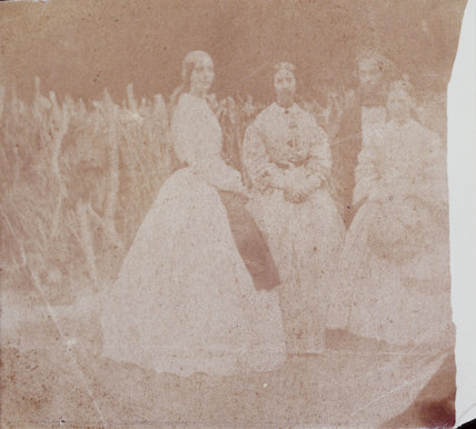 Experimental print showing three women and a man