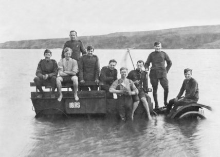 Royal Flying Corps Personnel Sitting on Submerged Vehicle During the First World War - c1915