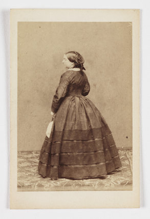 A carte-de-visite of Queen Victoria (1819-1901), taken by an unknown photographer in about 1858.