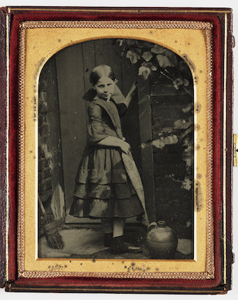 Girl by Garden Gate, about 1860