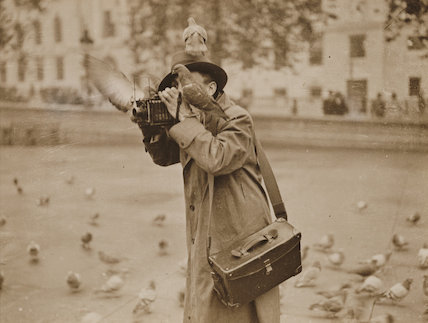 A photographer with pigeons, Trafalgar Square, London