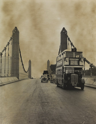 Buses run over Chelsea Bridge for the first time, 1937