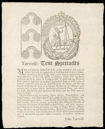 Trade card for John Yarwell, optician, 1697.