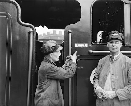Driver and fireman on a steam locomotive footplate, 1956.