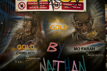 Graffiti portraits in East London of Chris Hoy and Mo Farah by Paul Don Smith