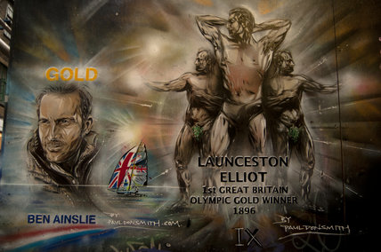 Graffiti portraits in East London of Ben Ainslie and Launceston Elliot by Paul Don Smith