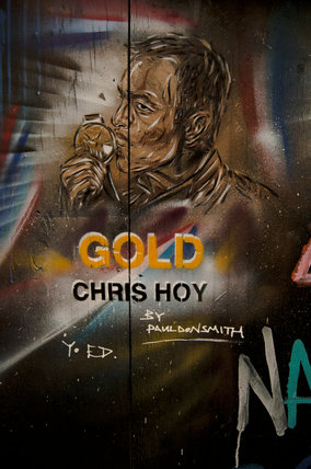 Graffiti portrait in East London of Chris Hoy by Paul Don Smith
