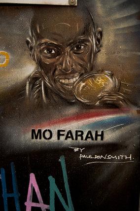 Graffiti portrait in East London of Mo Farah by Paul Don Smith
