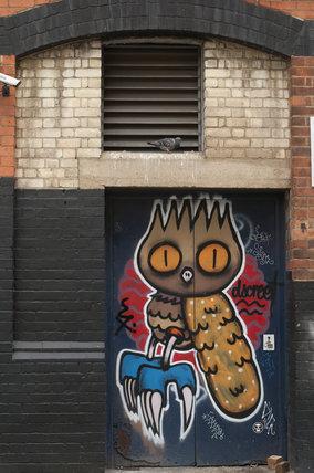 Graffiti of owl in East London by Dscreet