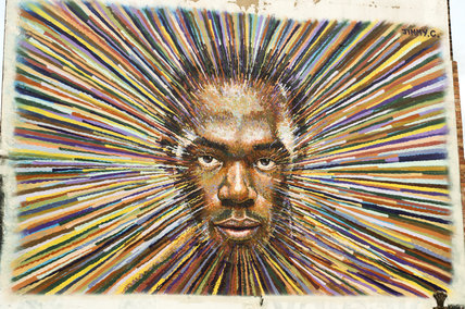 Graffiti of Usain Bolt in East London