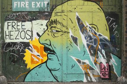 Graffiti portrait in East London on Diss Street