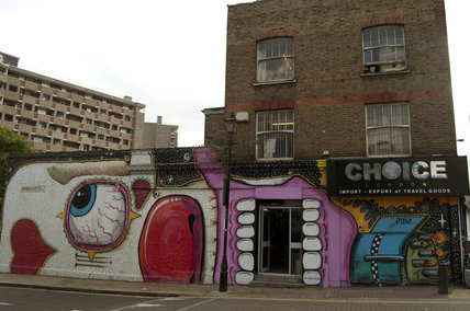 Graffiti of clown in East London on Ravenscroft Street