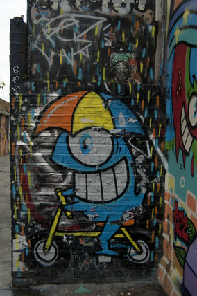 Graffiti of cartoon character in East London