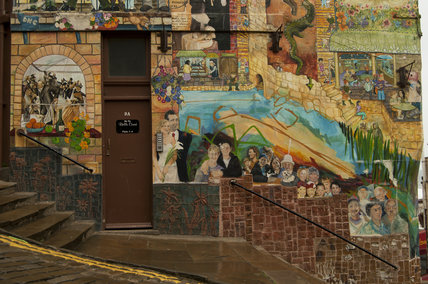 A close up view of the Blands Cliff Murals on Blands Cliff