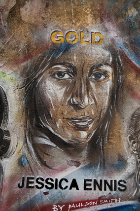 Graffiti portrait in East London of Jessica Ennis by Paul Don Smith