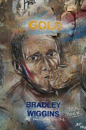 Graffiti portrait of Bradley Wiggins by Paul Don Smith