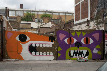 Graffiti of fox and cat by Malarky
