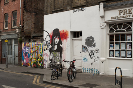 Street view of graffiti in East London