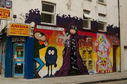 Graffti in East London of wizard