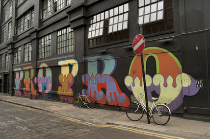 Graffiti in East London of lettering called PRO PRO by Ben Eine