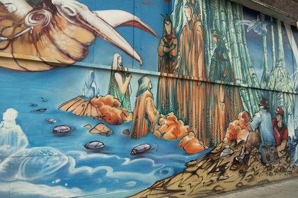 Mural by Jim Rockwell in honour of Moebius