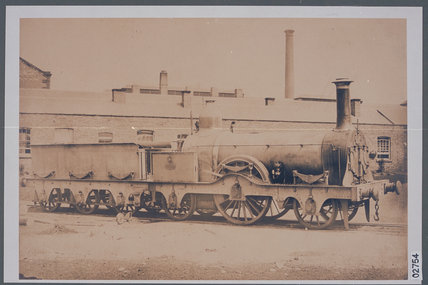 Works photograph of Lombardo-Venetian Railway '2-2-2' locomotive, 1857.