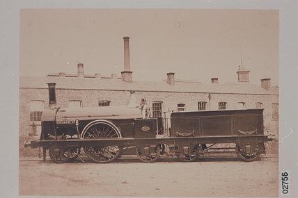 Works photograph of Edinburgh & Glasgow Railway '2-2-2' locomotive, 1856.