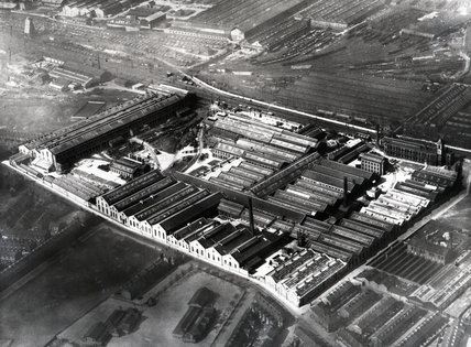 Works photographic negative showing an aerial view of the Beyer, Peacock works at Gorton, 1947.
