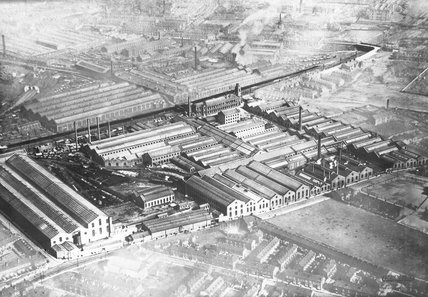 Works photographic negative showing aerial view of the Beyer, Peacock works at Gorton, 1925.