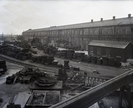 Works photographic negative of exterior view of the boiler shop and block yard from the plate shed crane, 1959.