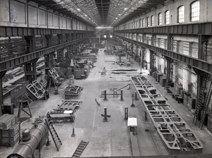 Works photographic negative of interior view of the boiler mounting shop, 1959.