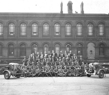 Works photographic negative of Beyer, Peacock & Co. ARP Fire Prevention Squad, 1940.