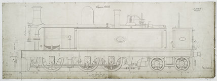 Preliminary sketch of outside view of Mersey Railway '0-6-4' tank locomotive.38637_6532