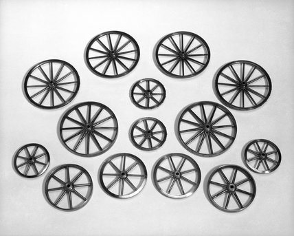 Seven pairs of wheels for use with a model carriage, 1762.
